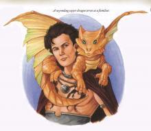 Wizard with a small dragon familiar