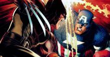 Wolverine tries to slice through Cap's Vibranium shield with his Adamantium claws