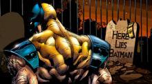 Wolverine visiting Batman's grave after killing him.