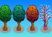 A tree depicted in different seasons of the game.