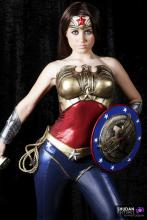 Diana is a skilled fighter with a shield.