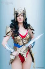 Wonder Woman often wears armor.
