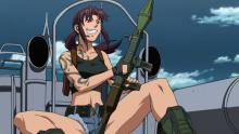 Revy is a trigger happy member of the Lagoon Company.