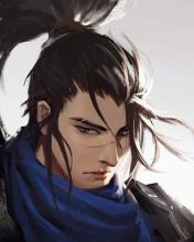 A cool portrait of a anime looking yasuo