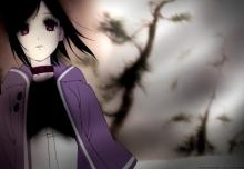 This wallpaper shows Saki Watanabe in a very dark and eerie setting.