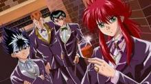 The team having a drink in formal attire