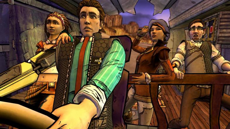 A band of adventurers in Tales from the Borderlands facing a suspenseful moment.