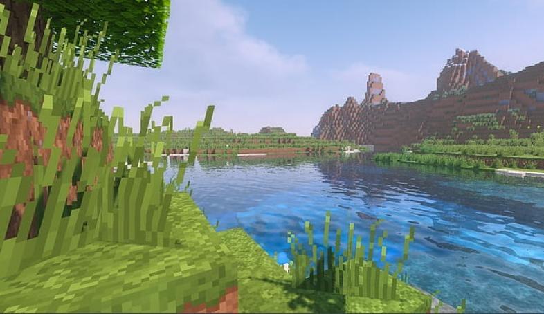 A beautiful lake under Minecrafts blue sky