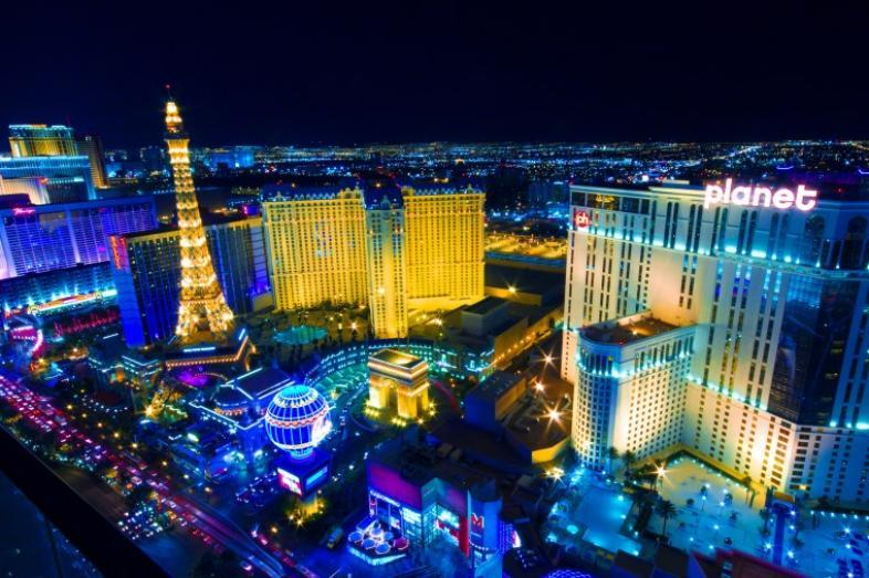 Las Vegas lit up at night.
