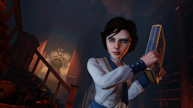 Liz from BioShock Infinite wearing a white and blue uniform. She is holding a blue book and acting aggressively.