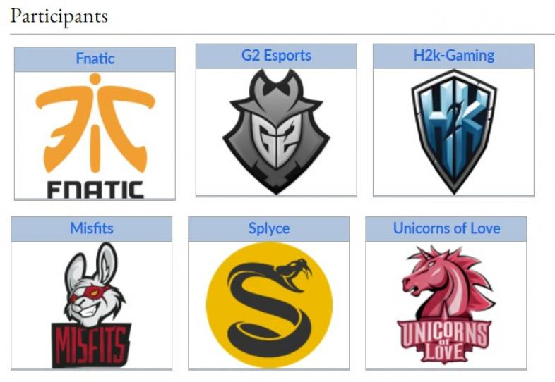 League of Legends, Fnatic, G2, H2K, Misfits, Splyce, Unicorns of Love, eSports