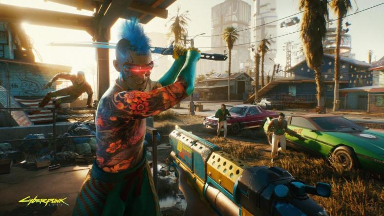 Cyberpunk 2077 katana guns cars city Night City cyborgs