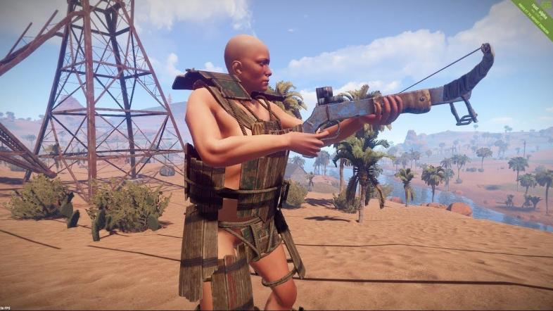 A screenshot of the wooden armor and crossbow in action.