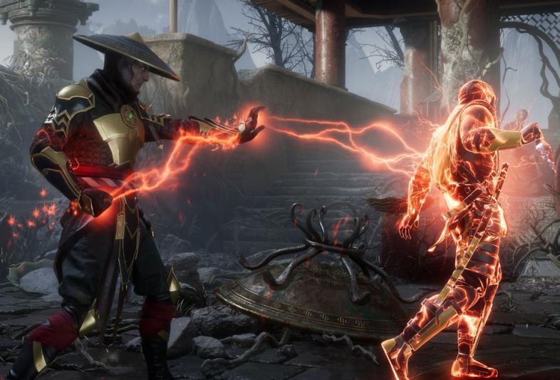 Raiden electrocutes Scorpion in retaliation