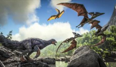 Pteranodons and a Tapejara are fleeing from a Therizino that has chased them towards a cliff.