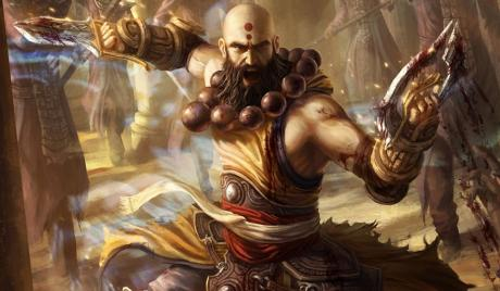 Diablo 3 Monk with fist weapons at the ready
