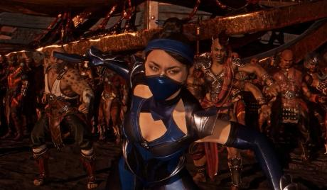 Kitana stands to fight alongside Sheeva and Baraka.