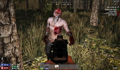 Hungry zombie at the barrel of a gun