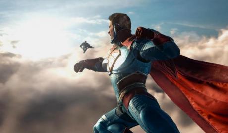 Watch Superman punch Batman into the next century.