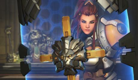Brigitte behind her shield