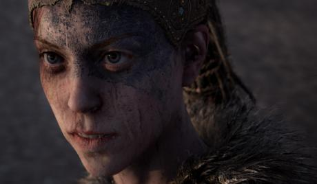 Senua's pensive, yet unblinking stare.