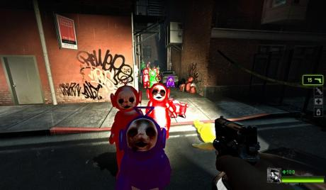 Experience the horror of Po's pursuit with the Left 4 Teletubbies 2 mod!