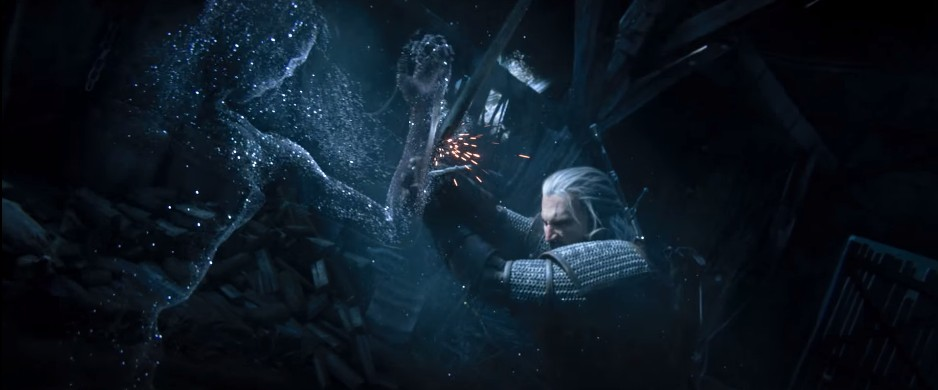 Geralt fights vampire